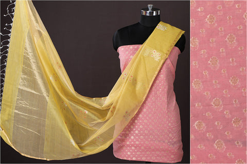 Banarasi Cotton Zari Work 2pc Suit with Chanderi Silk Handloom Buta Dupatta