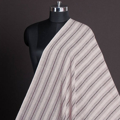 Organic Kala Cotton Pure Handloom Natural Dyed Charcoal & White Stripe Fabric (Width - 45in)