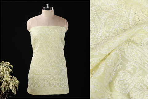Lucknow Chikankari Hand Embroidered Pure Cotton Kurta Material
