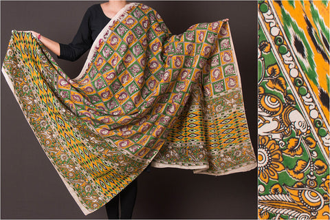 Kalamkari Printed Silk Cotton Dupatta with Zari