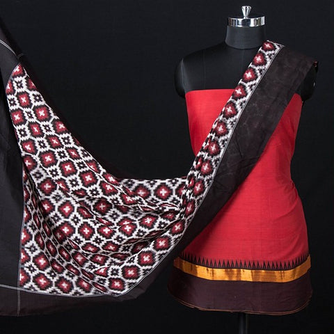 2pc Dharwad Handloom Cotton Suit with Telia Rumal Pochampally Double Ikat Cotton Handloom Dupatta