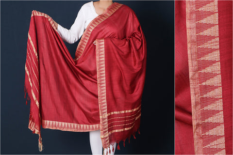 Ruby Red - Mulberry Silk Handloom Dupatta with Tassels
