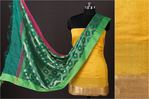Maheshwari Silk Cotton Handloom Zari 2pc Suit with Kota Silk Zari Buti Handloom Dupatta