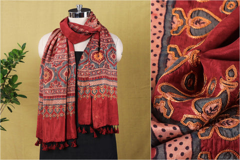 Aari Work Ajrakh Mulberry Silk Hand Block Print Natural Dyed Stole by Abdul Rauph