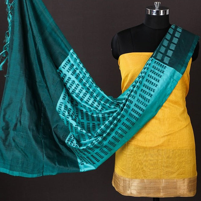 Maheshwari Silk Cotton Handloom Zari 2pc Suit with Handwoven Pochampally Ikat Silk Zari Dupatta