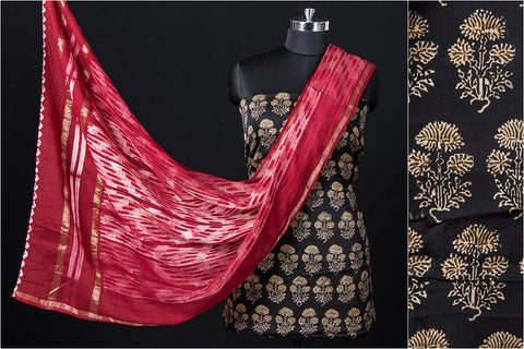 2pc Special Ajrakh Hand Block Printed Modal Silk Natural Dyed Suit with Sujangarh Nui Shibori Maheshwari Silk Dupatta