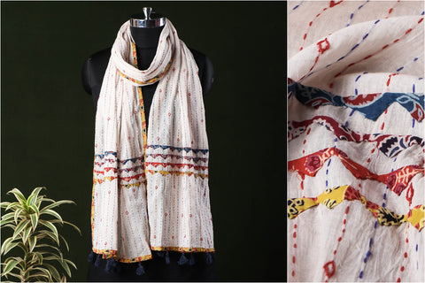 Marudhara Tagai Work Ajrakh Border Mulmul Cotton Stole with Tassels