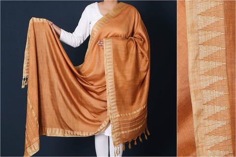 Fiery Orange - Mulberry Silk Handloom Dupatta with Tassels