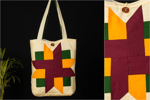 Patchwork Quilted Cotton Swastik Shoulder Bag