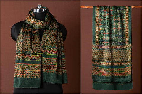 Ajrakh Hand Block Printed Natural Dyed Pure Mashru Silk Stole