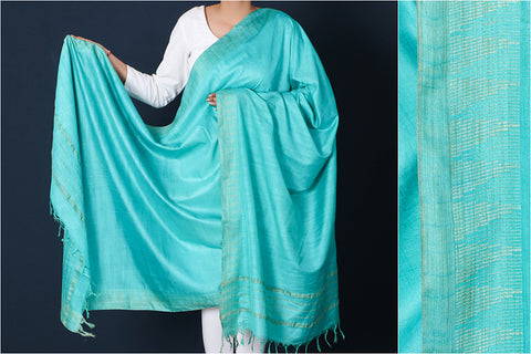 Light Sea Green - Mulberry Silk Handloom Dupatta with Tassels