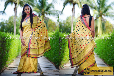 Kutch Bhujodi Weaving Tabhanis Handloom Tussar Silk x Cotton Saree by Vinay Siju