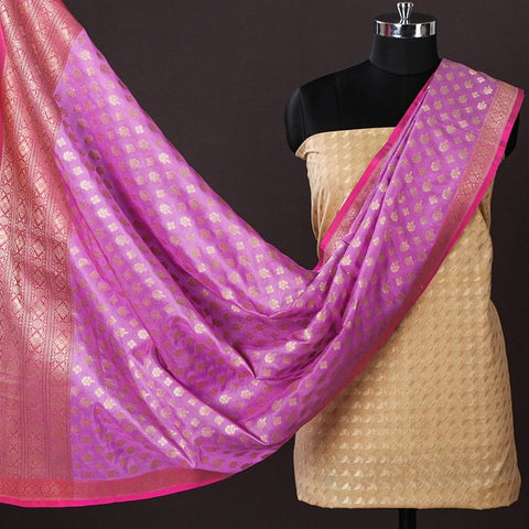 Banarasi Silk Cotton Zari Booti Handloom 2pc Suit with Katan Silk Handwoven Zari Dupatta