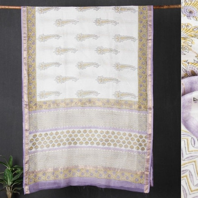 Sanganeri Hand Block Printed Maheshwari Silk Saree with Zari Border