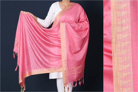 Tickle Me Pink - Mulberry Silk Handloom Dupatta with Tassels