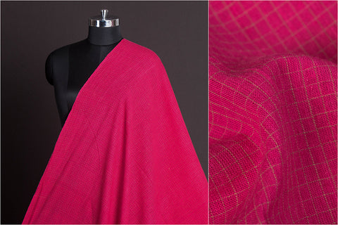 Organic Kala Cotton Pure Handloom Natural Dyed Pink & Pista Green Check Fabric (Width - 45in)