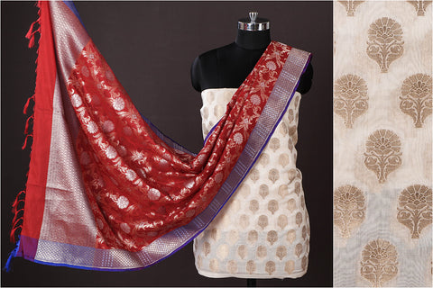 Banarasi Cotton Cutwork Zari Buti 2pc Suit with Katan Silk Zari Dupatta