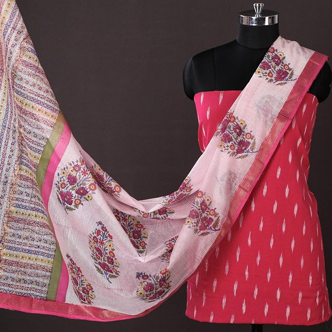 Pochampally Ikat Cotton 2pc Suit with Maheen Kaam Sanganari Signature Block Print Chanderi Dupatta