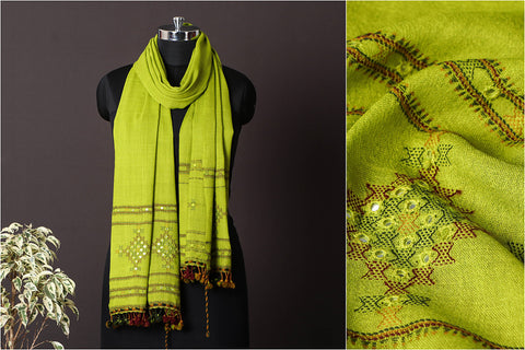 Handwoven Pure Wool Mirror Work Embroidered Stole