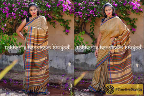 Kutch Bhujodi Weaving Tabhanis Handloom Pure Cotton Saree by Vinay Siju