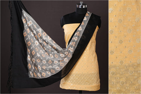 Banarasi Cotton Zari Work 2pc Suit with Pochampally Ikat Fine Cotton Handloom Dupatta