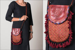Kutch Leather & Mashru Silk Sling Bag with Tassels