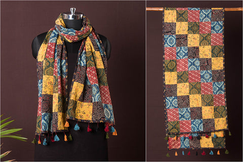Kutch Patchwork Cotton Stole with Tassels