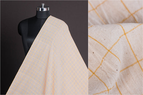 Organic Kala Cotton Pure Handloom Natural Dyed White & Yellow Check Fabric (Width - 45in)