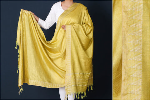 Sundance Yellow - Mulberry Silk Handloom Dupatta with Tassels