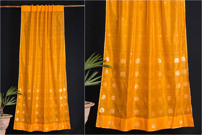 Special Chanderi Silk Cotton Bargad Tree Zari Buti Handloom Door Curtain (7 x 3.5 Feet)