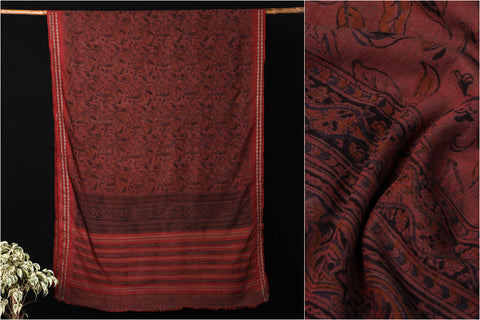 Mangalgiri Godavari Kalamkari Block Printed Handloom Cotton Saree with Muga Border by DAMA