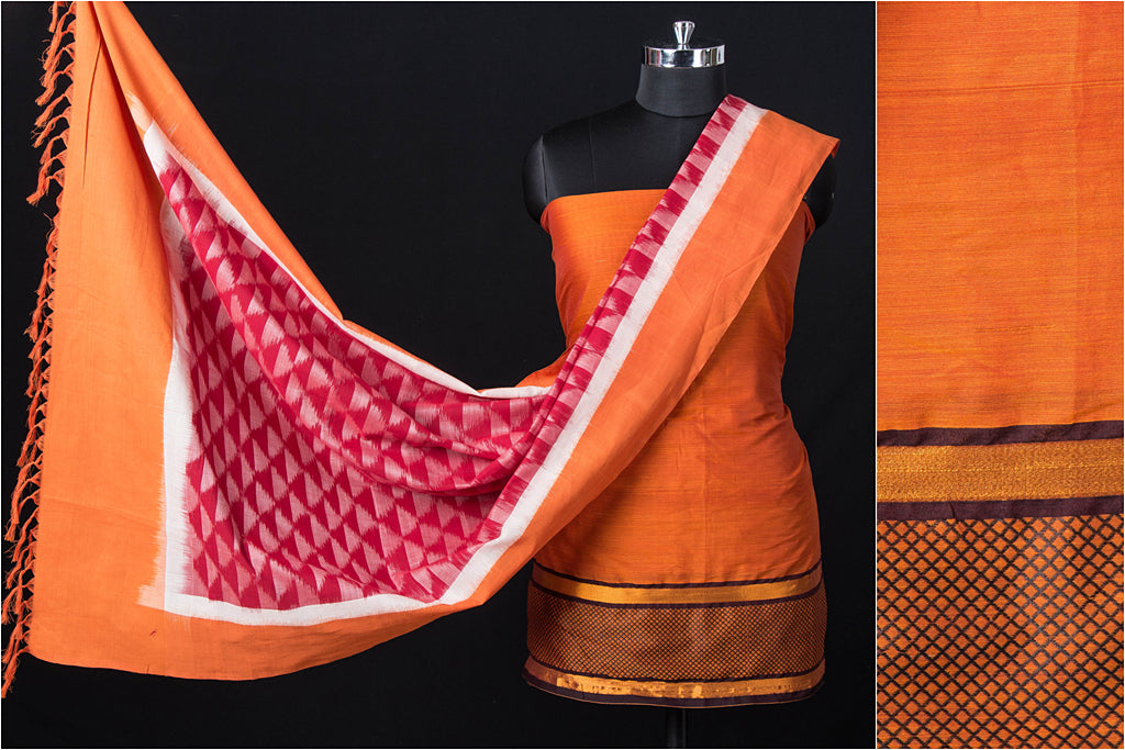 2pc Dharwad Handloom Cotton Suit with Pochampally Double Ikat Cotton Handloom Dupatta
