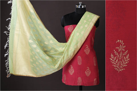 Chanderi Silk Gold Block Print 2pc Suit with Banarasi Kora Silk Cotton Cutwork Handwoven Zari Buti Dupatta