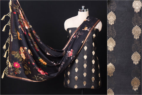 2pc Handloom Chanderi Silk Zari Buti Suit Material Set with Floral Print SIlk Cotton Dupatta