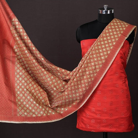 Banarasi Silk Cotton Zari Booti Jacquard 2pc Suit with Banarasi Kora Silk Cotton Cutwork Handwoven Meena Buti Dupatta