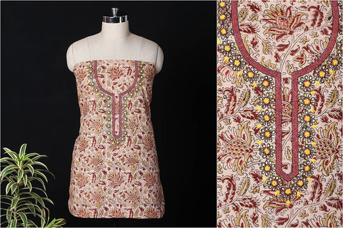 Hand Embroidered Bead Work Kalamkari Block Printed Cotton Kurta Material (2.6 metres)