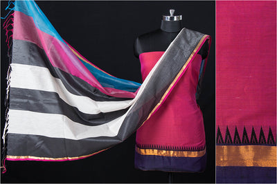 2pc Dharwad Handloom Cotton Suit with Original Maheshwari Silk Pure Handloom Zari Work Dupatta