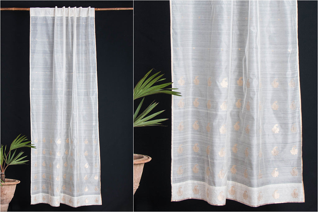 Special Chanderi Silk Cotton Keri Zari Buti Handloom Door Curtain (7 x 3.5 Feet)