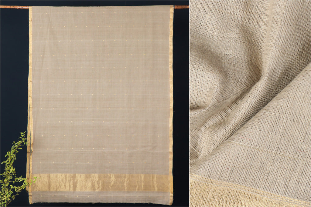 Srikakulam Zari Jamdani Buti Natural Dyed Handloom Cotton Saree by DAMA