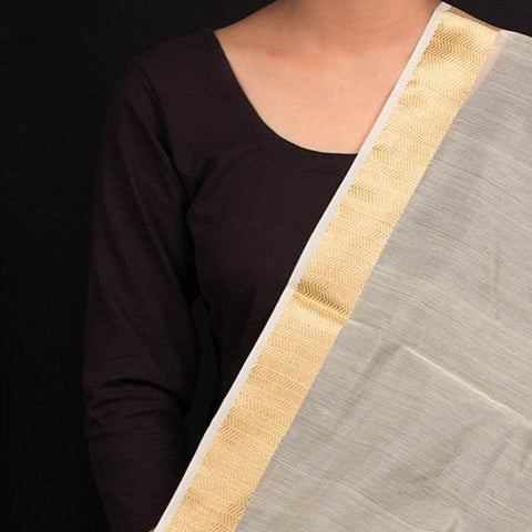 Chanderi Silk Nakshi Kinari Border Handloom Fabric