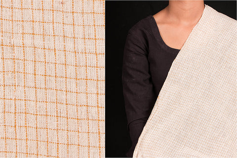Organic Kala Cotton White Mustard Check Fabric (Width - 44in)