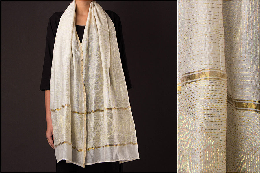 Sujani Embroidery Stole in Chanderi Silk with Zari by Aunam