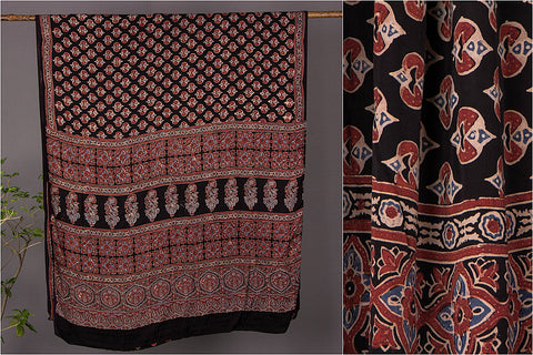 Special Kutch Modal Silk Chaar Kaam Ajrakh Block Print Saree with Blouse