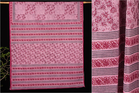 Khushbash Bengal Handwoven Block Print Cotton Saree