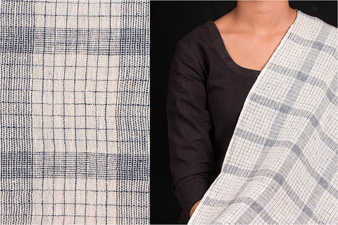 Organic Kala Cotton White Black Uneven Check Fabric (Width - 44in)