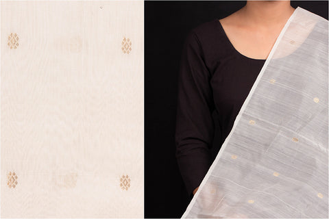 Chanderi Silk Mercerized Buti Handloom Fabric