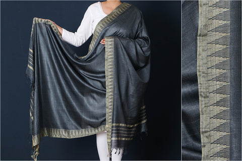 Bright Grey - Mulberry Silk Handloom Dupatta with Tassels