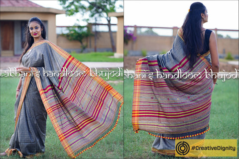 Kutch Bhujodi Weaving Tabhanis Handloom Eri Silk Cotton Saree by Vinay Siju