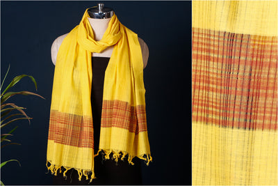 Mangalgiri Cotton Missing Weave Handloom Stole with Tassels by DAMA