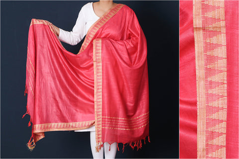 Brick Red - Mulberry Silk Handloom Dupatta with Tassels